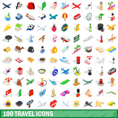 100 travel icons set, isometric 3d style