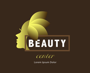 GOLD BEAUTY LOGO / ICON , ON BROWN