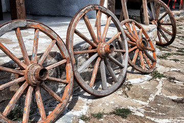 Old Wooden Cart Wheels in the village