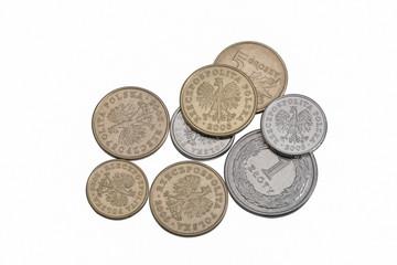 Polish zloty coins money isolated on white, closeup