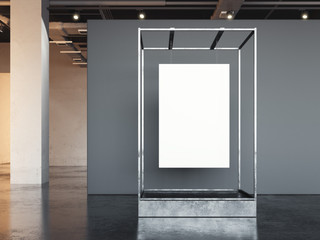 White poster hanging in a metal showcase. 3d rendering