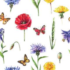 Seamless summer wallpaper with wild flowers, butterflies. Watercolor illustration