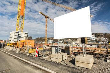 Baustelle Plakat Schild Kräne