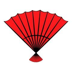 Red open hand fan icon cartoon