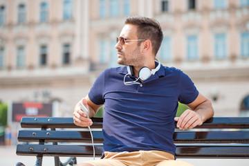 Enjoying his favorite music