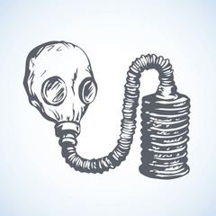 Vector drawing. Gas mask