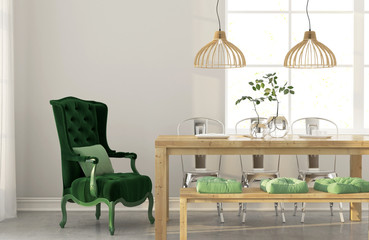 Dining room with green armchair
