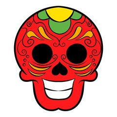 Latin skull icon cartoon