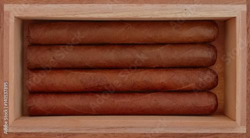 Studio Scene Of Cuban Cigars In Vintage Cigar Box Stock Photo