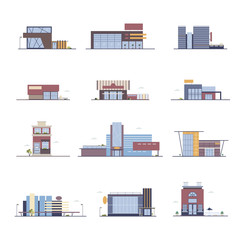 Shop, supermarket, shopping center, store buildings set in flat style. Colorful vector illustration.