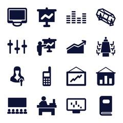Set of 16 presentation filled icons