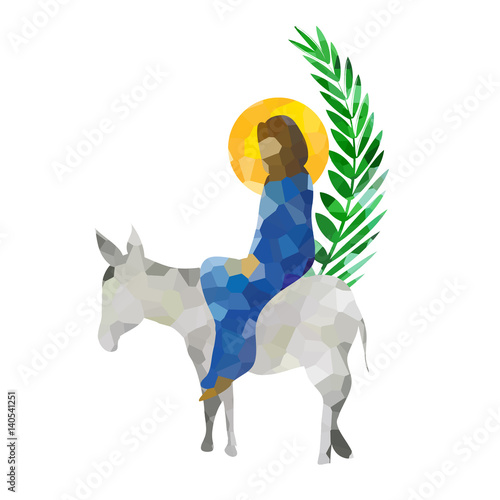 palm sunday the triumphal entry of jesus into jerusalem on a donkey with palm leaves