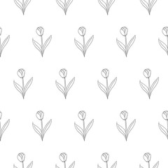 tulip seamless vector pattern