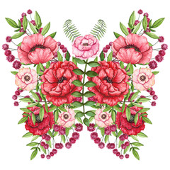 Watercolor Floral Butterfly with Red and Pink Poppies