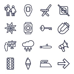 Set of 16 simple outline icons