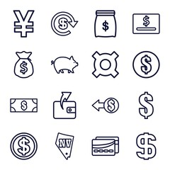 Set of 16 cash outline icons