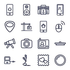 Set of 16 device outline icons