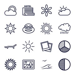 Set of 16 sunset outline icons