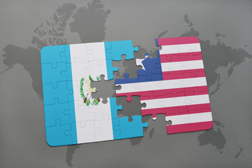 puzzle with the national flag of guatemala and liberia on a world map