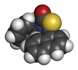 Tideglusib drug molecule (GSK-3 inhibitor). 3D rendering. Atoms are represented as spheres with conventional color coding.
