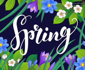 Spring text on floral background.