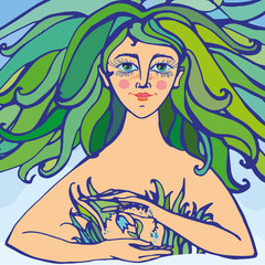 Mother nature as beautiful woman with curly green hair holding lilies of the valley and giving birth to life. Suitable for Mother Day and Earth Day pictures and cards. Vector Illustration