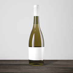 white wine bottle on a table. 3d rendering