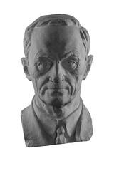 White plaster bust, sculptural portrait of the modern man
