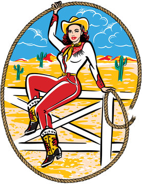 Retro Western cowgirl sitting on a fence twirling a rope.