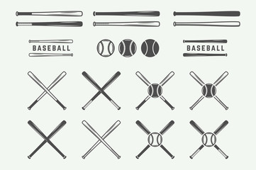 Vintage baseball logos, emblems, badges and design elements. Monochrome graphic Art. Vector Illustration