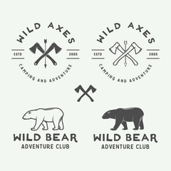 Set of vintage camping outdoor and adventure logos, badges, labels, emblems, marks and design elements. Vector illustration. Monochrome Graphic Art.