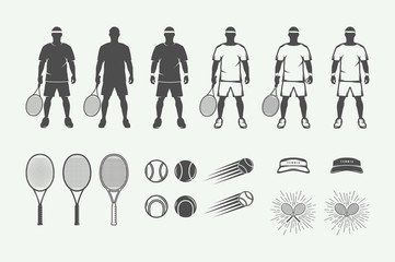 Set of vintage tennis sport design elements in retro style. Graphic monochrome art. Vector Illustration.