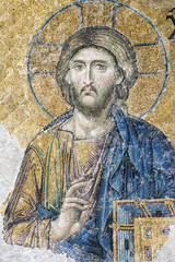 Detail of Christ Pantocrator from the Deesis Mosaic inside Hagia Sophia, Istanbul, Turkey