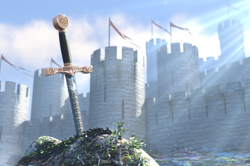 3D illustration of legend about sword in stone