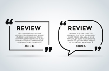 Website review quote citation blank template vector icon comment customer circle paper information text chat citing description dialog discussion set