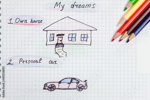 My dream own house personal car text and drawing on for My dream house drawing