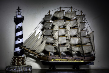 Photography Paint With Light Sailing Ship Lighthouse