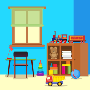 Colorful and pretty child room with a desk and chair, a closet with toys. Vector, illustration in flat style EPS10.