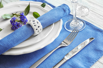 Table setting on color napkin