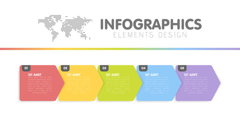 Business infographics template. Timeline with 5 arrow steps, five number options. Vector Wall mural