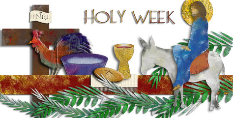 Holy week  - The passion of Jesus Christ with Entry into Jerusalem, Eucharist, washing of the feet, rooster and cross. Modern abstract textured digital illustration made without reference image.