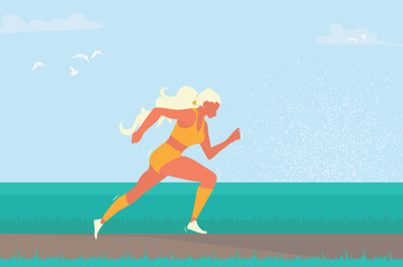 Woman running. Girl run, jogge. Sport