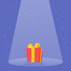 Gift Prize red box spotlight vector illustration
