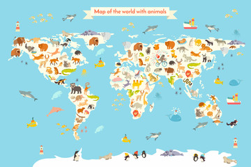 Animals world map. Colorful cartoon vector illustration for children and kids. Preschool, education, baby, continents, oceans, drawn, Earth