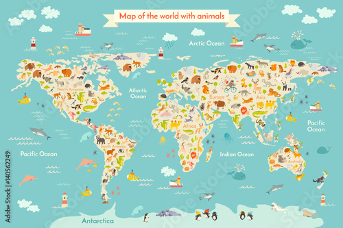 Map Animal For Kid Continent Of World Animated Childs Map - Continents of the world for kids