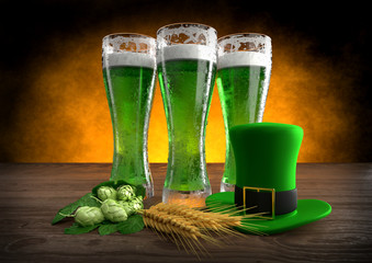 St Patrick's Day concept, green beer, hat. 3D render