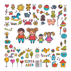 Family. Collection of hand drawn cute doodles. Sketch set of drawings in child style. Doodle children drawing
