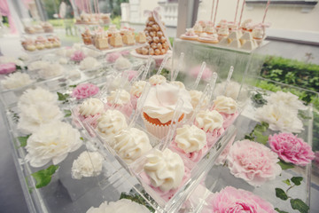 Dessert table. Dessert table for a wedding party. wedding sweet dessert Fondant Cake on the table