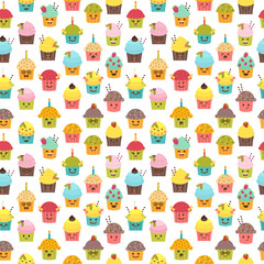 Seamless pattern with cupcakes and muffins. Kawaii cupcakes. Cute cartoon characters, emoji. Birthday background
