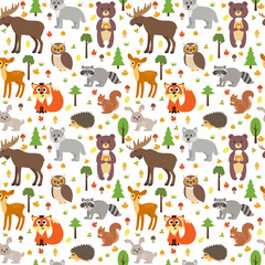 Seamless pattern with cute forest animals, mushrooms, leaves and trees. Autumn background